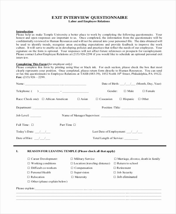 Exit Interview form Pdf Fresh Sample Exit Interview form 10 Free Documents In Doc Pdf