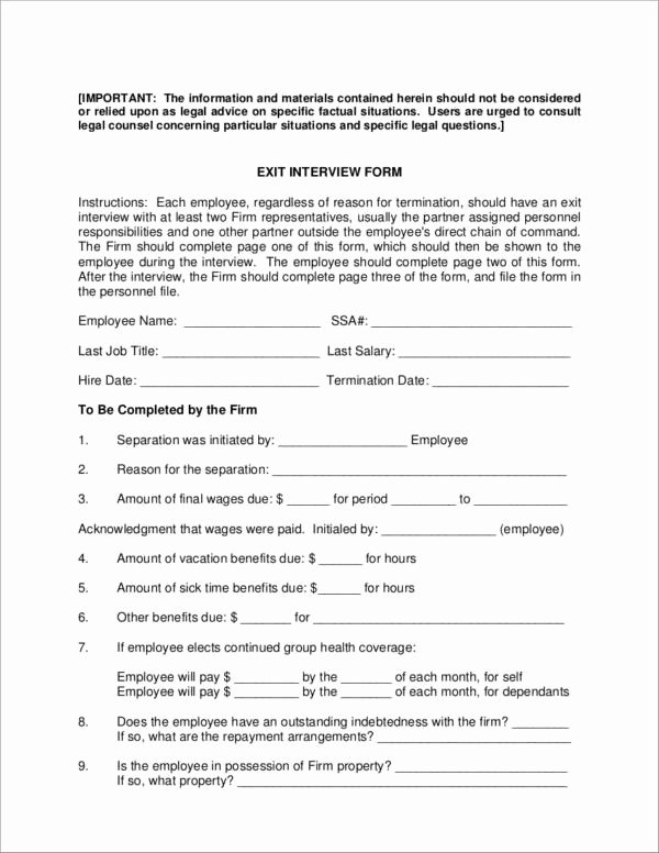 Exit Interview form Pdf Luxury 6 Exit Interview forms Samples & Templates