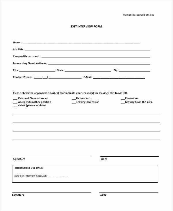 Exit Interview form Pdf New 10 Sample Exit Interview forms