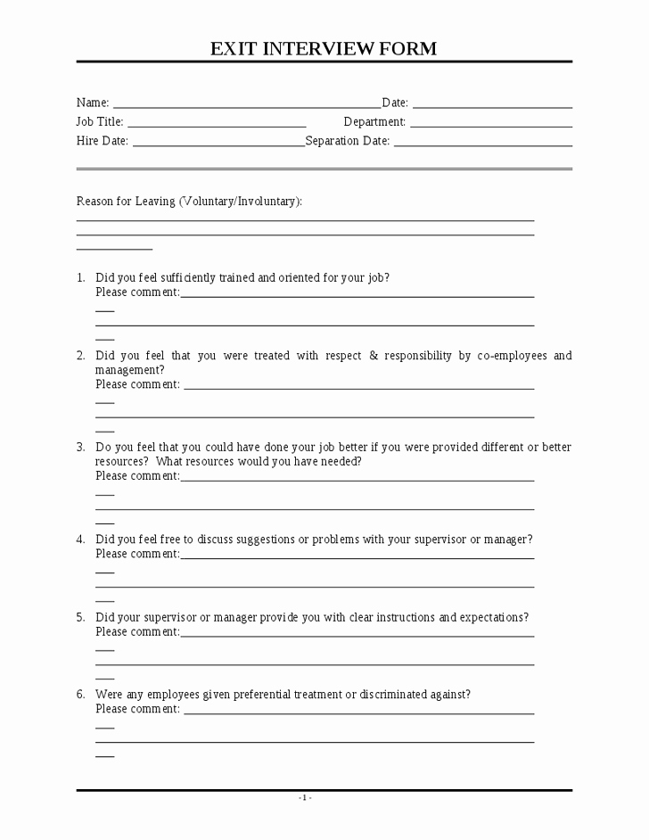 Exit Interview form Pdf New Exit Interview Template