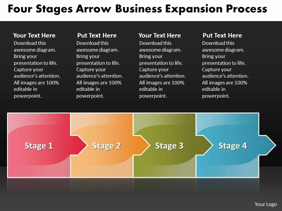 Expansion Plan Template Inspirational Business Powerpoint Templates Four Stages Arrow Expansion