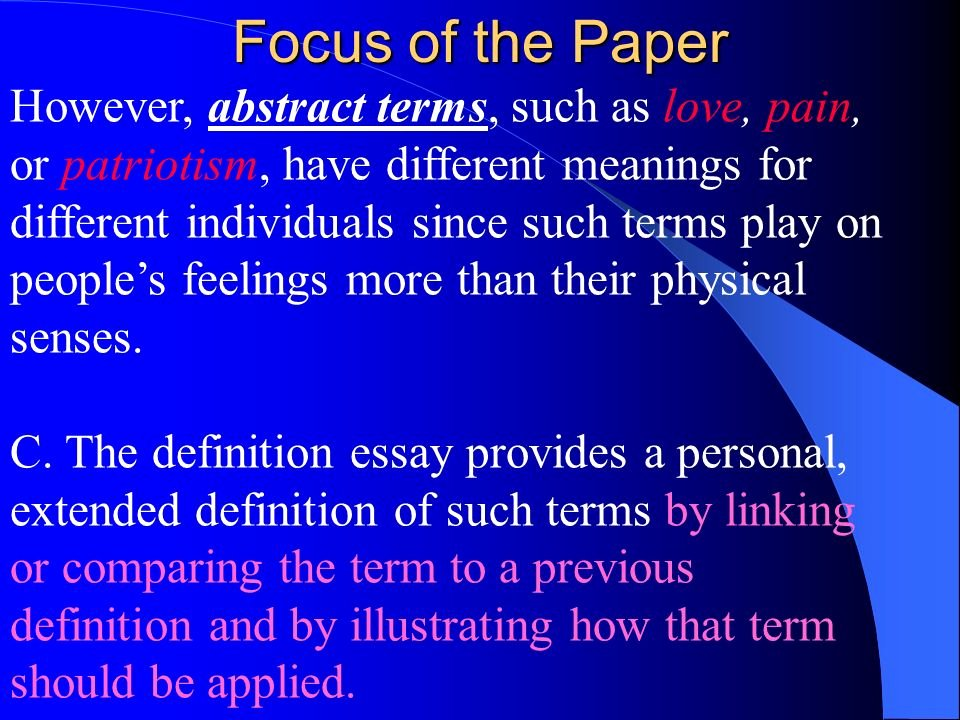 Extended Definition Of Love Awesome Extended Definition Essay Ppt