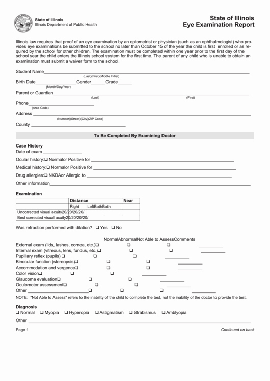 Eye Exam forms Template Inspirational State Illinois Eye Examination Report form Printable