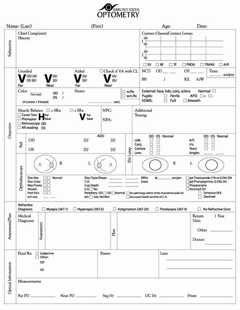 Eye Exam forms Template Lovely Exam form Copyright Arroyo Vista Optometry