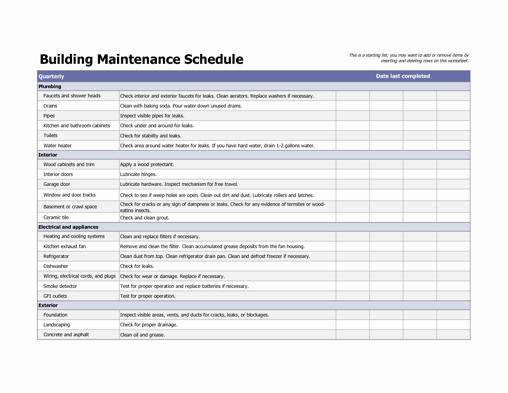 Facility Maintenance Checklist Template Fresh Building Maintenance Schedule Excel Template