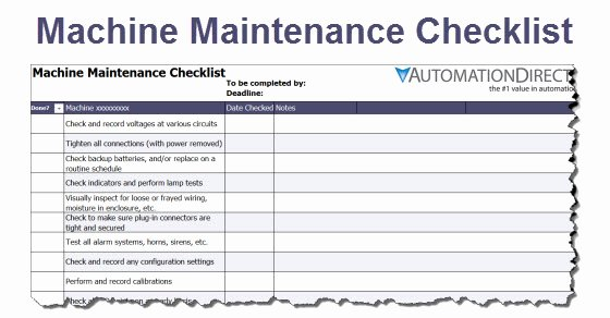 Facility Maintenance Checklist Template Luxury Machine Maintenance Checklist