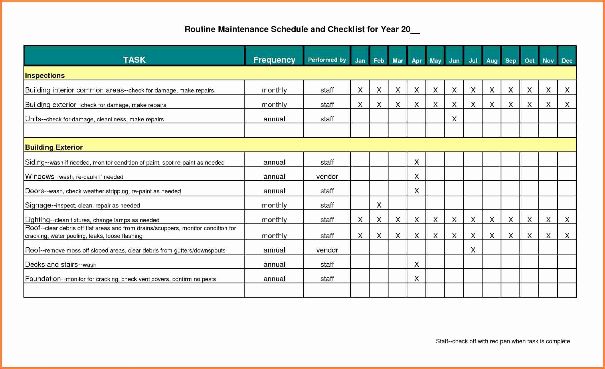 Facility Maintenance Schedule Excel Template Beautiful Building Maintenance Schedule Excel Template