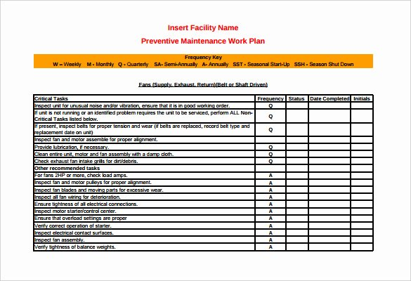Facility Maintenance Schedule Excel Template Fresh 37 Preventive Maintenance Schedule Templates Word