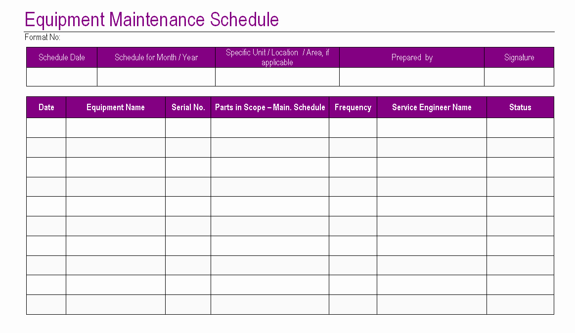Facility Maintenance Schedule Excel Template Lovely Download Preventive Maintenance Schedule Template Excel