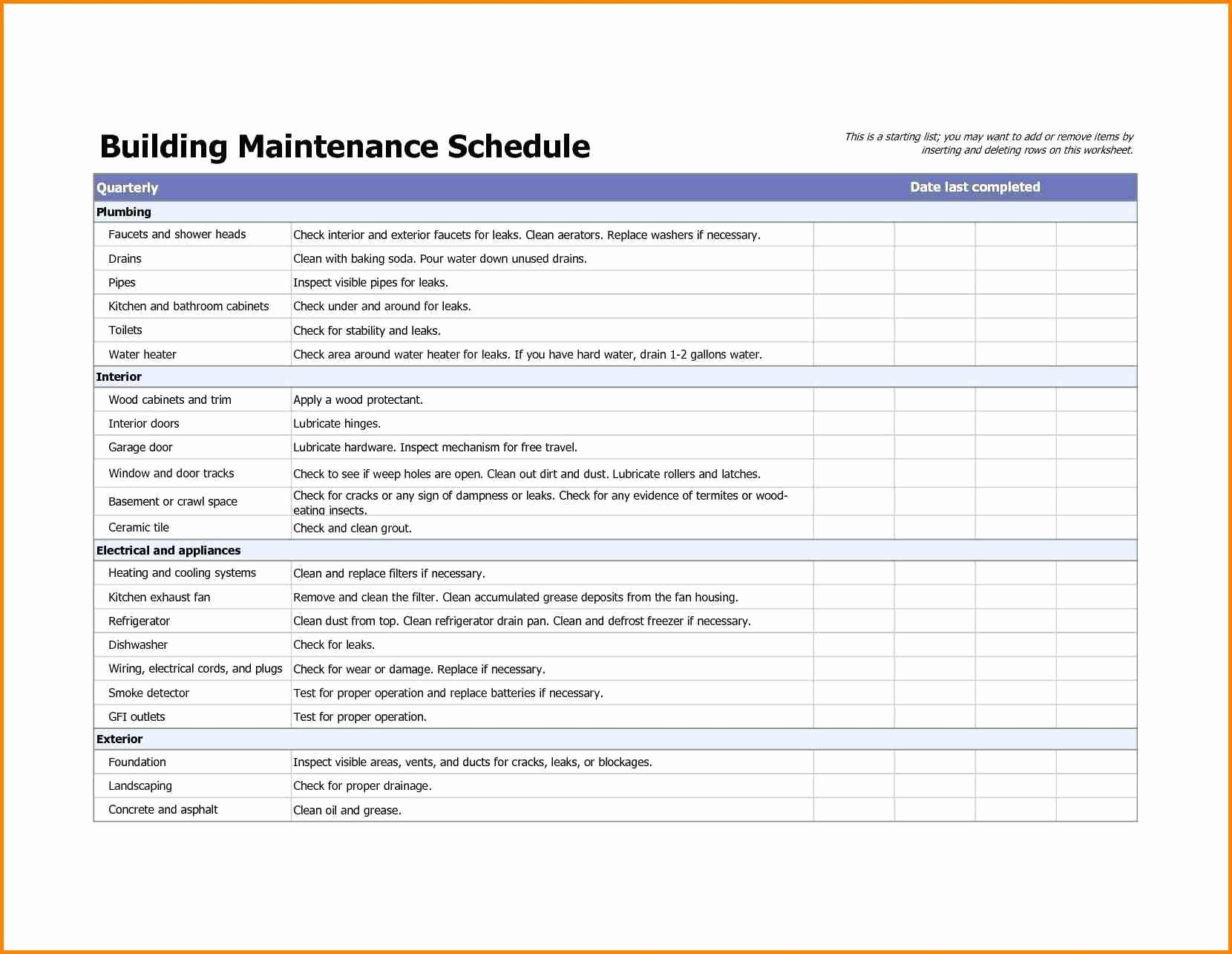 Facility Maintenance Schedule Excel Template Luxury Building Maintenance Checklists – Emmamcintyrephotography