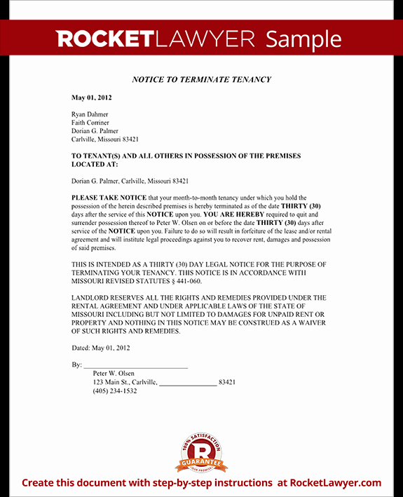 Failed Background Check Letter Fresh Eviction Notice Missouri Mo Eviction Notice form with
