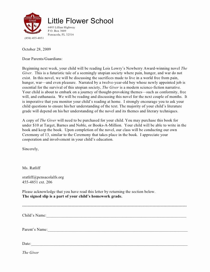 Failed Background Check Letter Lovely 2009 the Giver Parent Letter