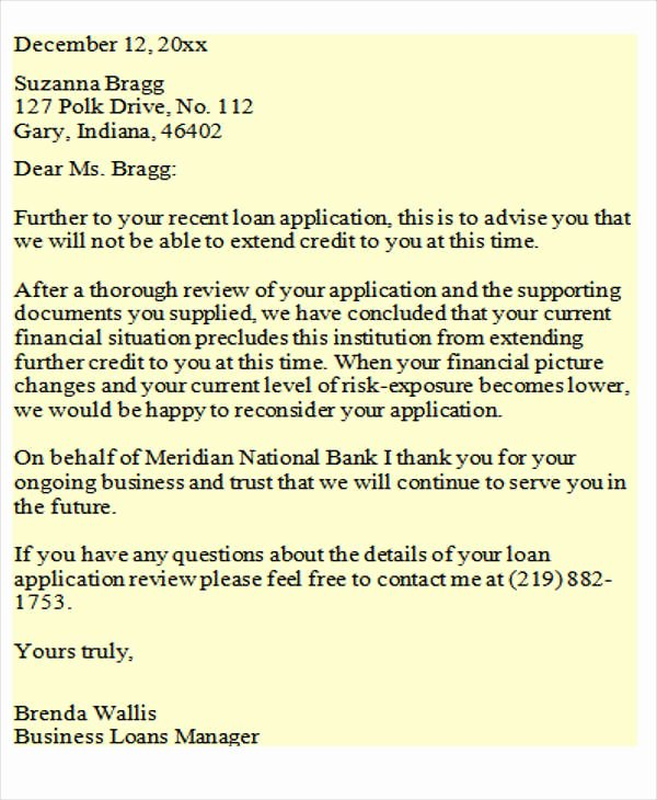Failed Background Check Letter Template Fresh Loan Rejection Letters 10 Free Sample Example format