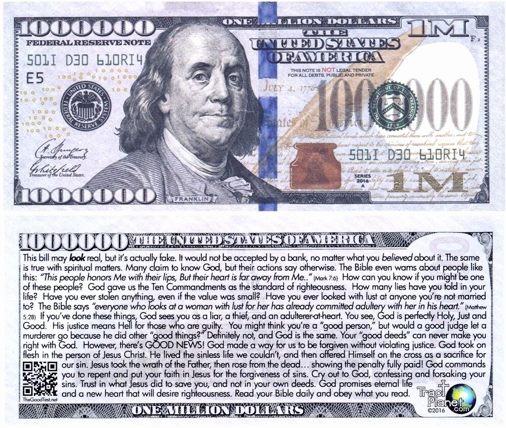 Fake 1000 Dollar Bill Printable Inspirational Blue Franklin Million Dollar Funny Money Gospel Tract