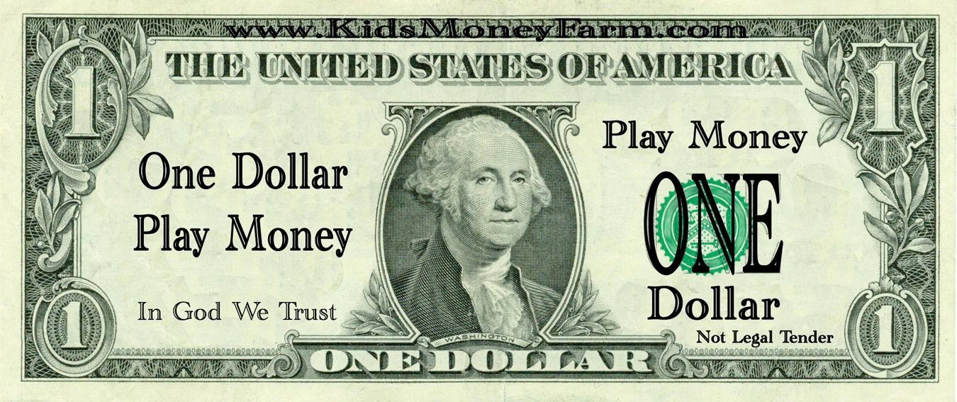 Fake 1000 Dollar Bill Printable Unique 1 Dollar Bills Fake Money Printables
