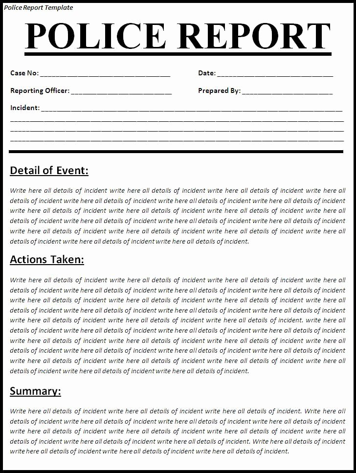 Fake Accident Report Template Elegant Printable Sample Police Report Template form