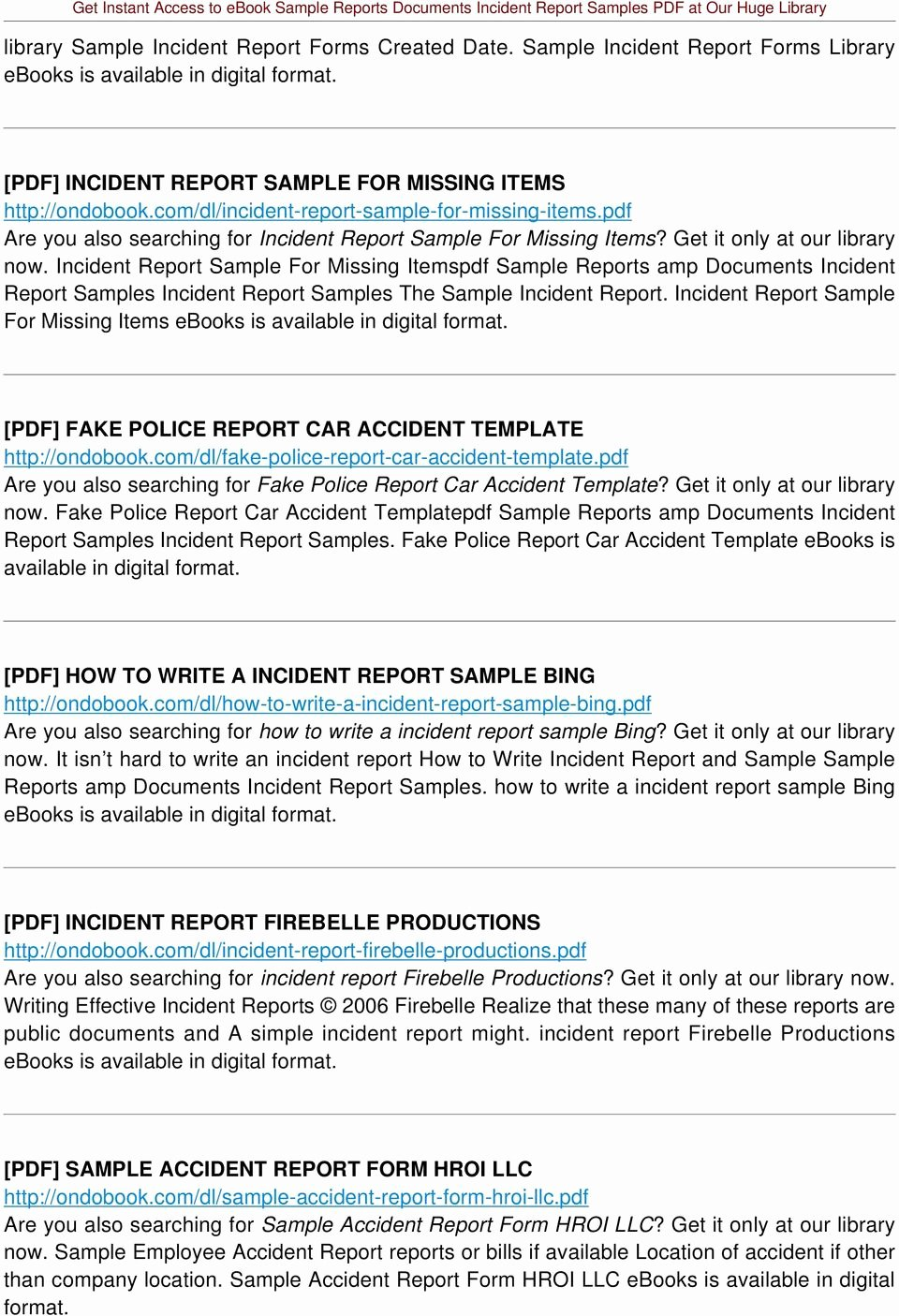 Fake Accident Report Template Unique Sample Reports Documents Incident Report Samples Pdf Pdf