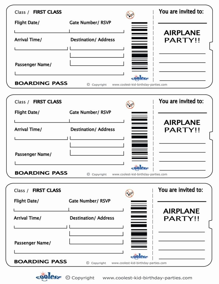 Fake Airline Ticket Template Inspirational Printable Airplane Boarding Pass Invitations Coolest