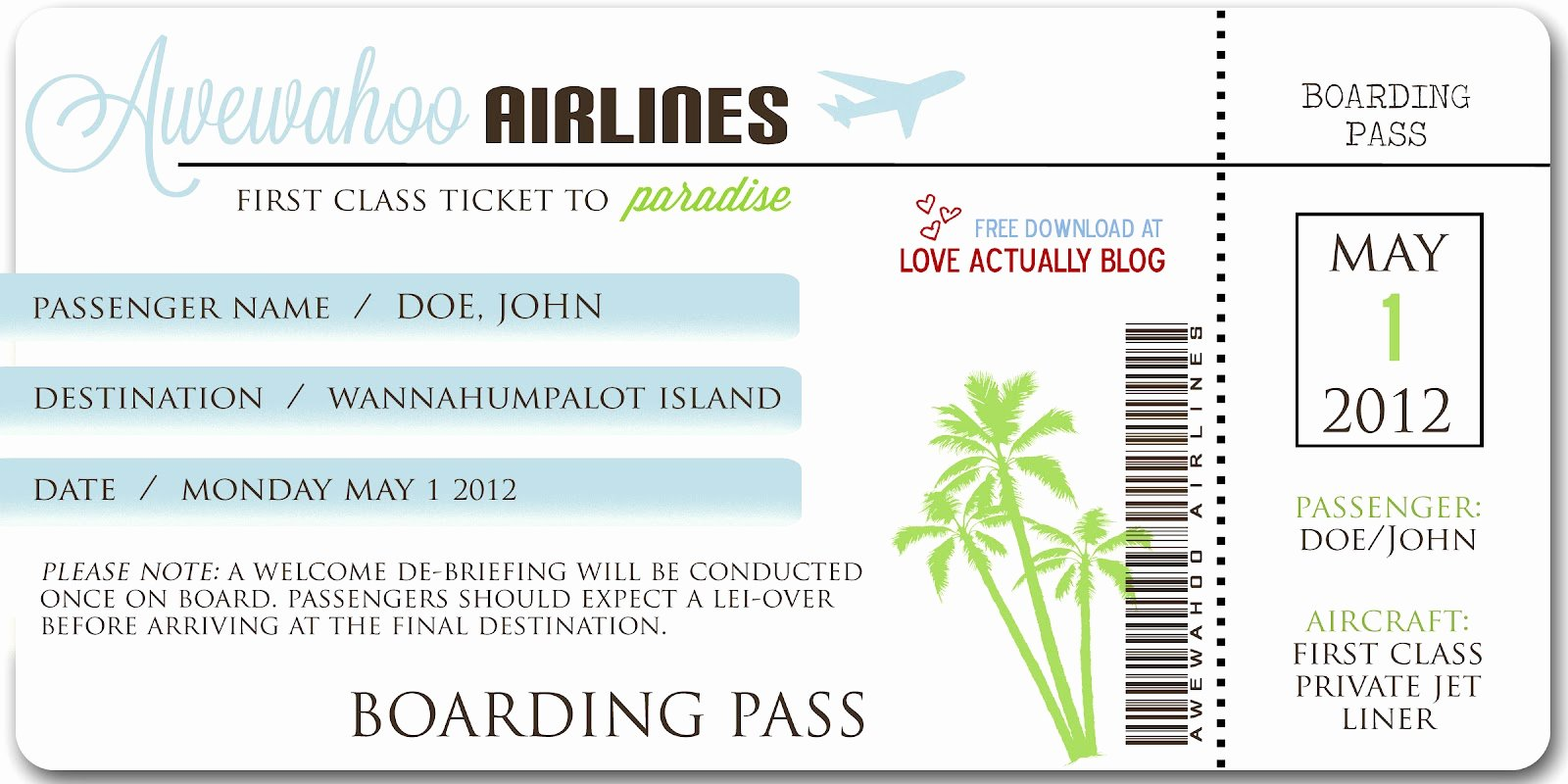 Fake Airline Ticket Template Unique Love Actually Awewahoo Hawaiian themed Date Night at Home