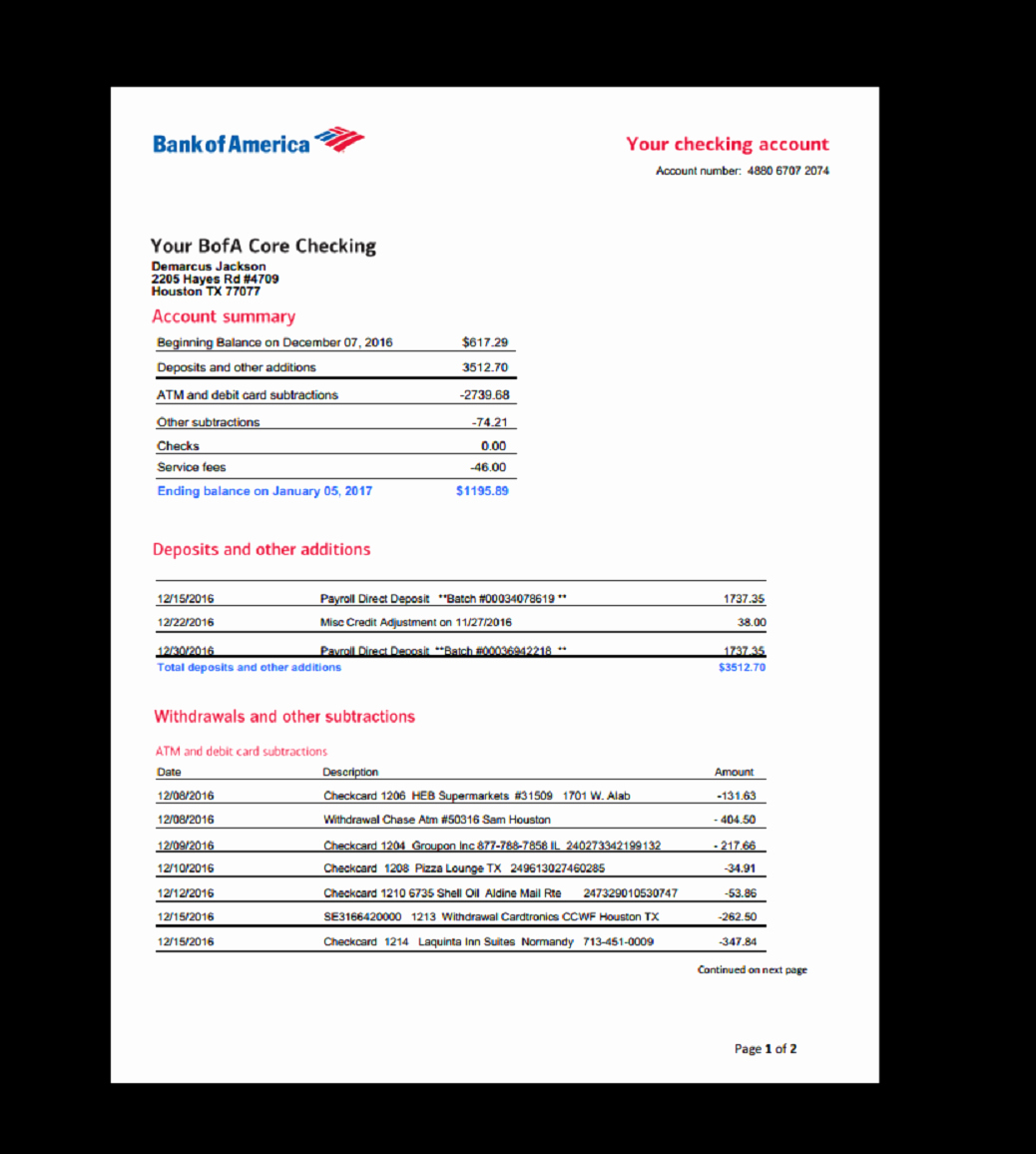 Fake Bank Statement Template Best Of Bank Statement Bank America Template In E Earnings
