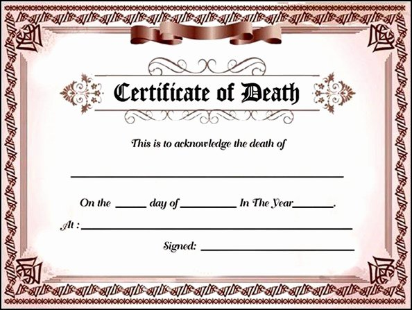 Fake Birth Certificate Template Awesome Fake Death Certificate