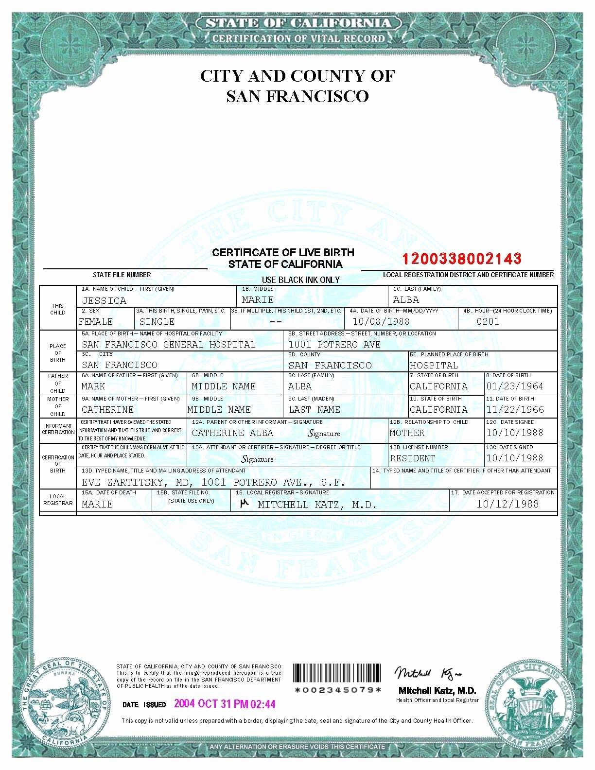 Fake Birth Certificate Template Elegant San Francisco Birth Certificate Template