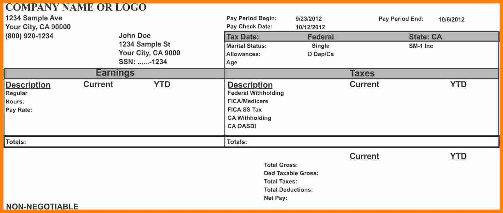Fake Check Template Luxury 10 Fake Pay Stubs Templates
