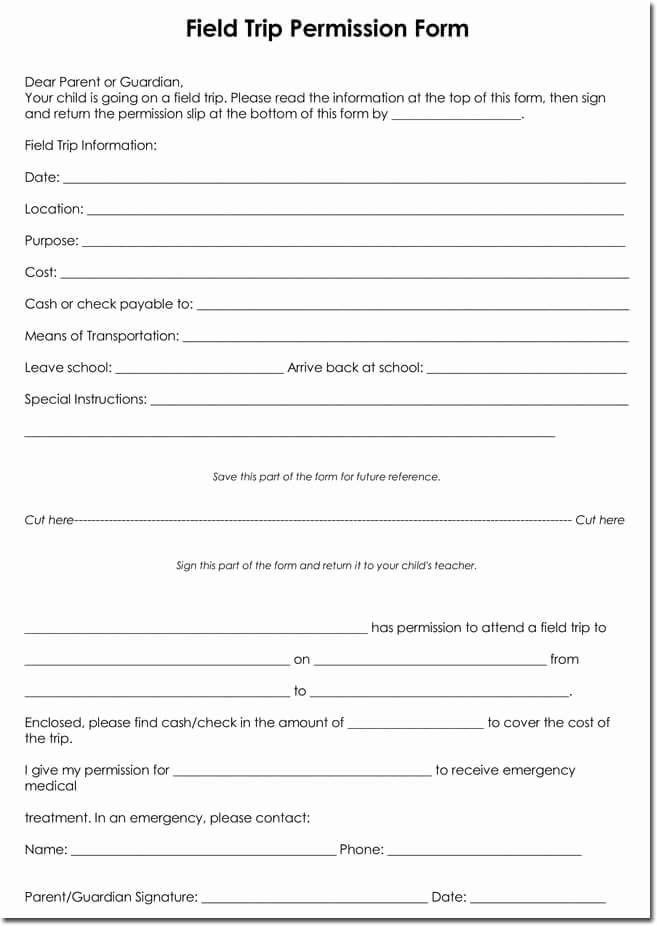 Fake Field Trip form Lovely School Field Trip Permission forms