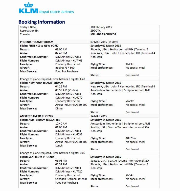 Fake Flight Itinerary Template Beautiful Sample Flight Reservation or Flight Itinerary for Visa