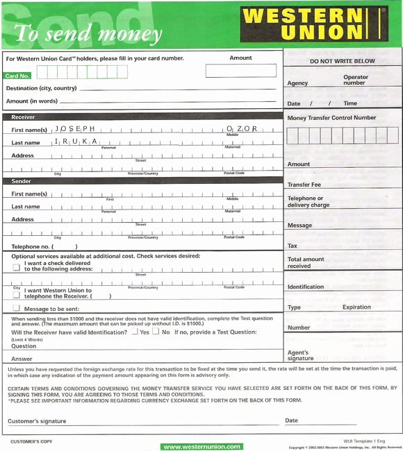 Fake Money order Template Awesome Western Union form – Kelly Misa