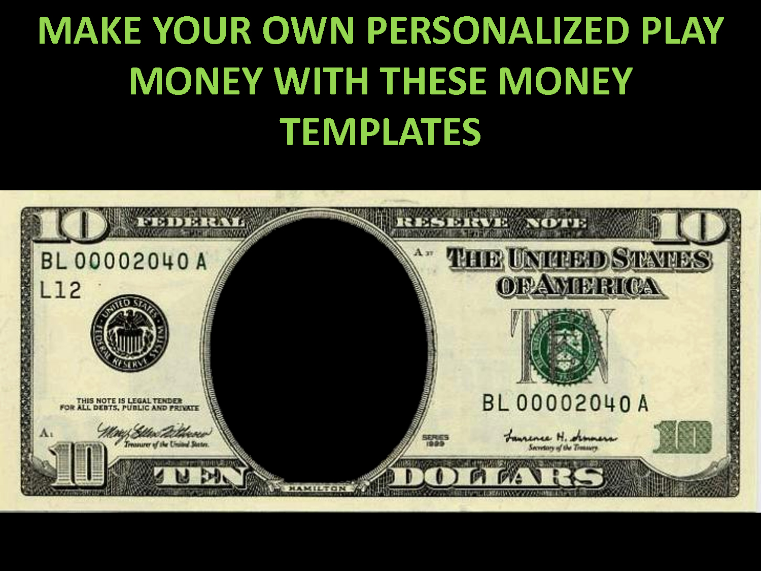 Fake Money Template Awesome Free Printable Play Money