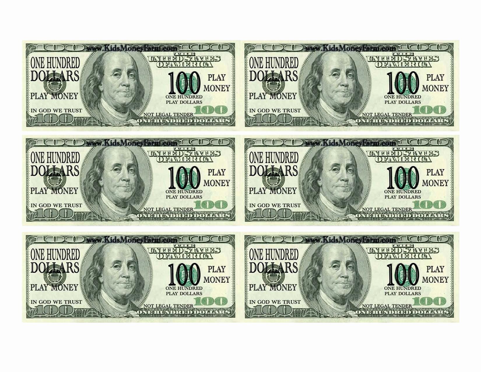 Fake Money Template Best Of One Hundred Dollar Bill Printable Printable Fake Money 100