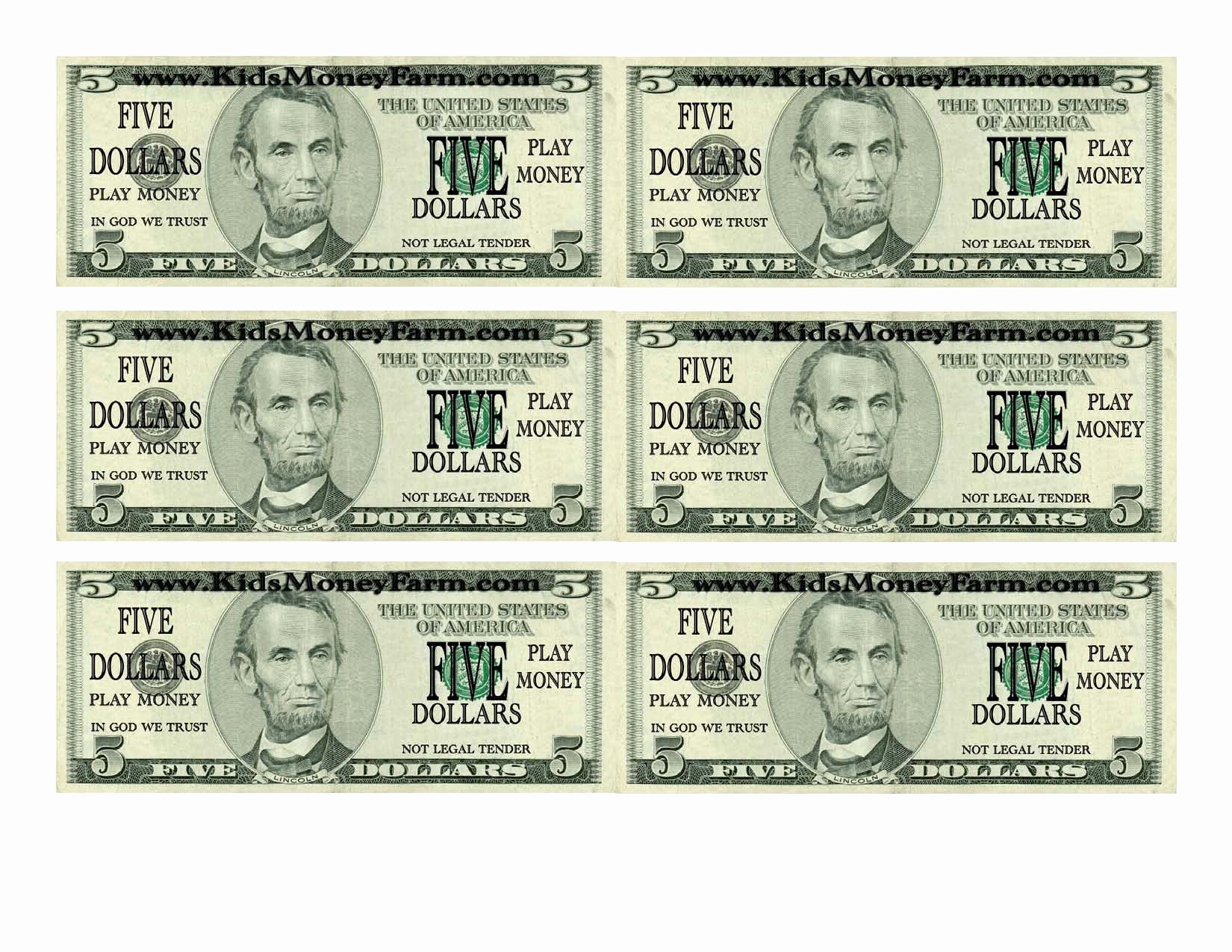 Fake Money Template Lovely Fake Dollars Printable Printable Pages