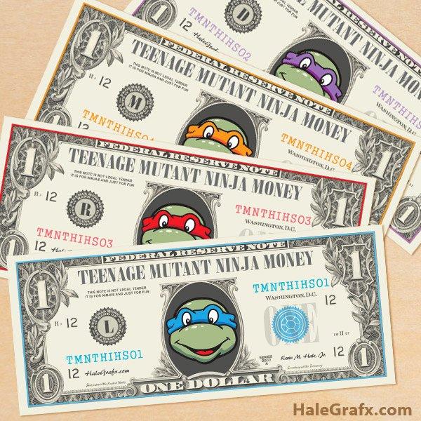 Fake Money Template Lovely Free Printable Tmnt Ninja Turtles Play Money
