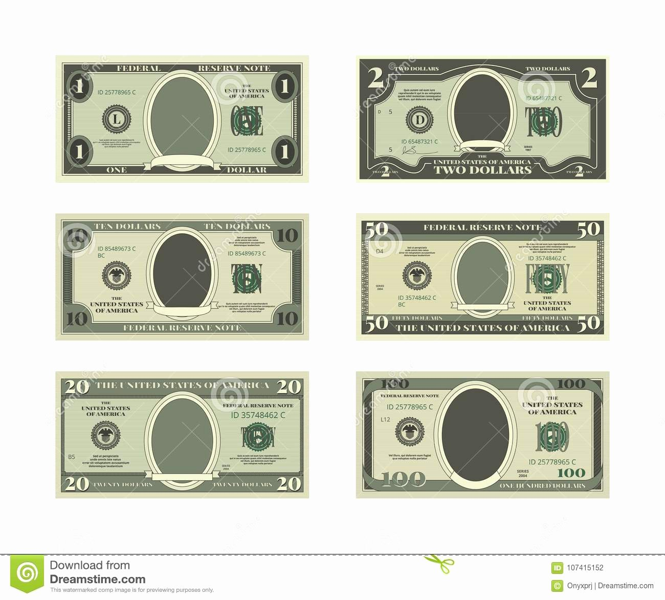 Fake Money Template Unique Template Fake Money Vector Dollars Stock