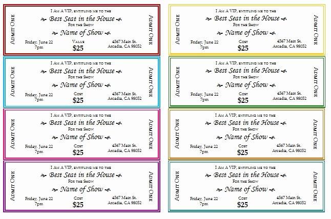 Fake Movie Ticket Generator Fresh event Ticket Template