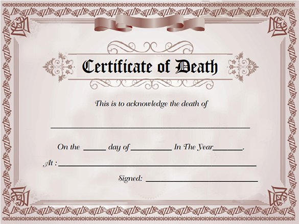 Fake Obituary Maker Beautiful 8 Death Certificate Templates Psd Ai Illustrator Word