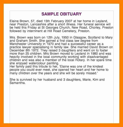 Fake Obituary Maker Best Of Obituary Examples for Father