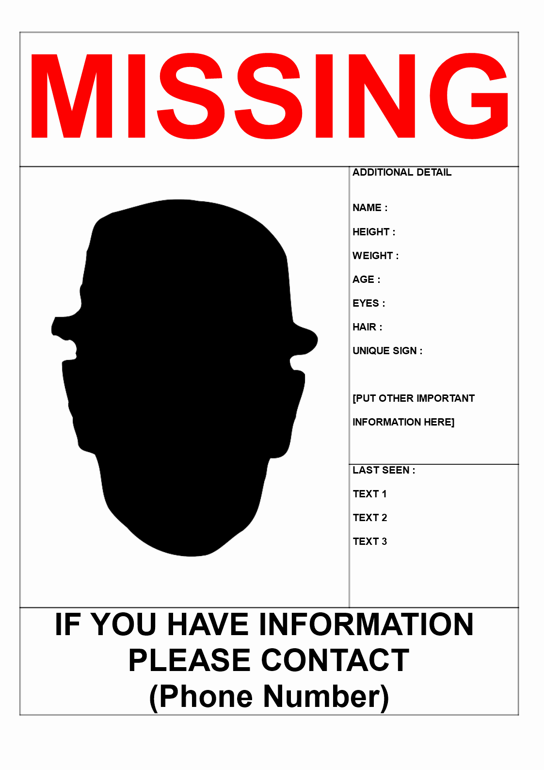 Fake Police Report Generator Elegant Free Missing Person Poster Template In A3 Size