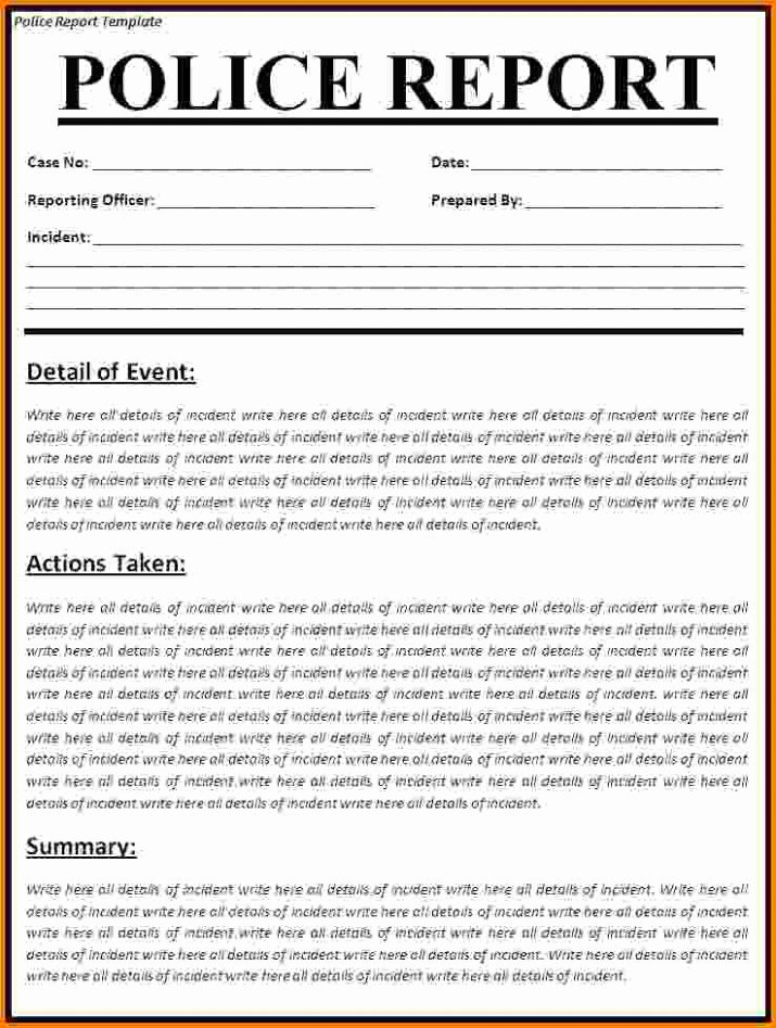 Fake Police Report Template Fresh Police Report Template Archives 2019 Calendar Printable