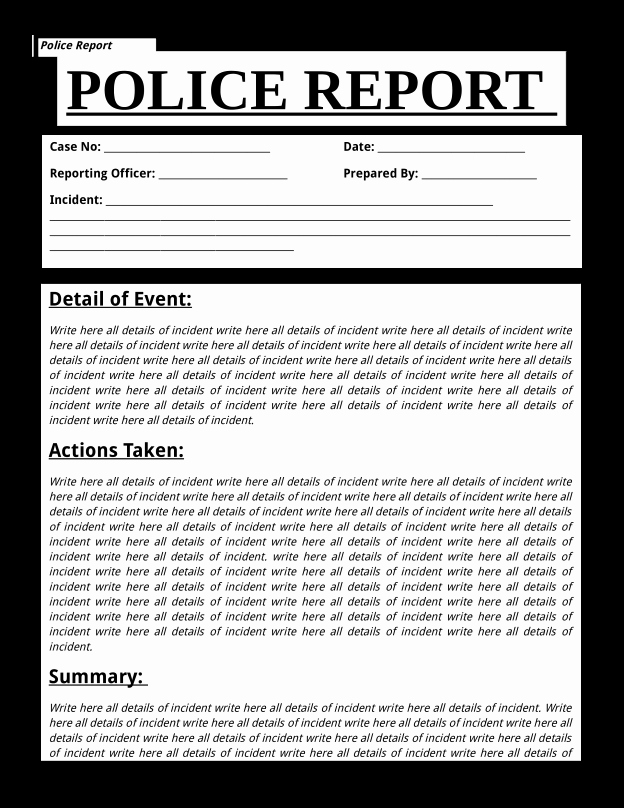 Fake Police Report Template Fresh Police Report Template Printable Sample Free Download
