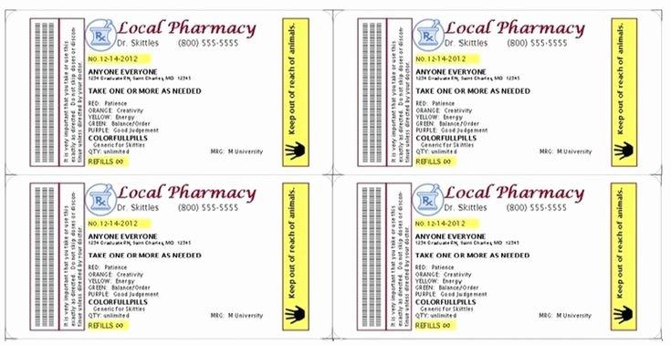 Fake Prescription Label Template Elegant Gag Prescription Label for Skittles