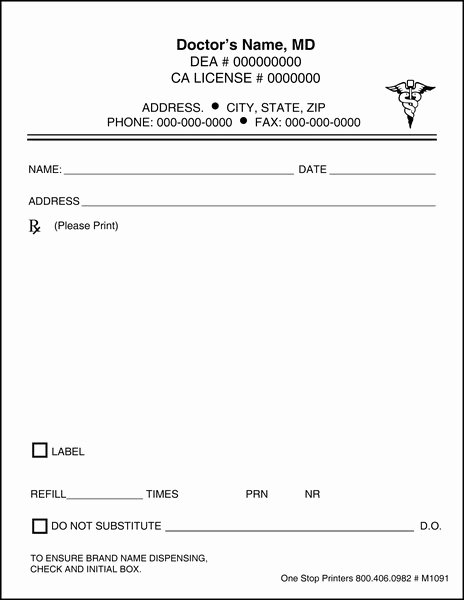 Fake Prescription Pad Template Awesome Doctor S Rx Pads & Slips with Docugard M1091