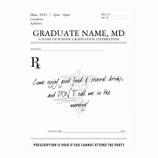 Fake Prescription Pad Template Luxury Medical Student Graduation Prescription Pad Invite