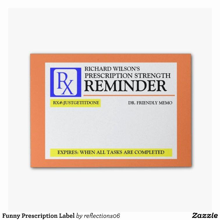 Fake Prescription Pad Template New Funny Prescription Label Post It Notes