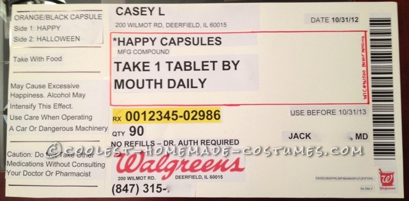 Fake Prescription Template Fresh original Homemade Prescription Bottle Costume