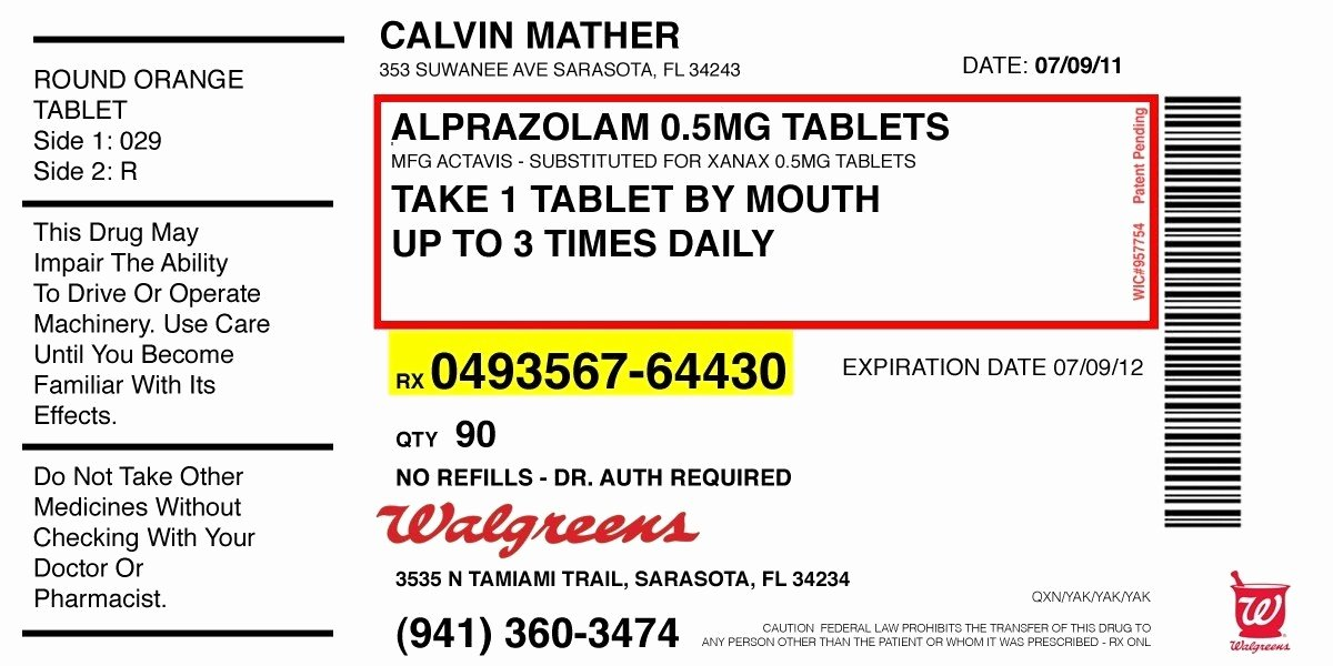Fake Prescription Template Luxury Medication Labels Examples