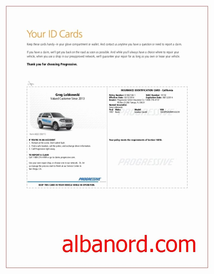 Fake Proof Of Insurance Templates Awesome 22 Of Progressive Car Insurance Card Template for