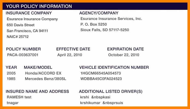 Fake Proof Of Insurance Templates Unique 15 Free Fake Auto Insurance Card Template