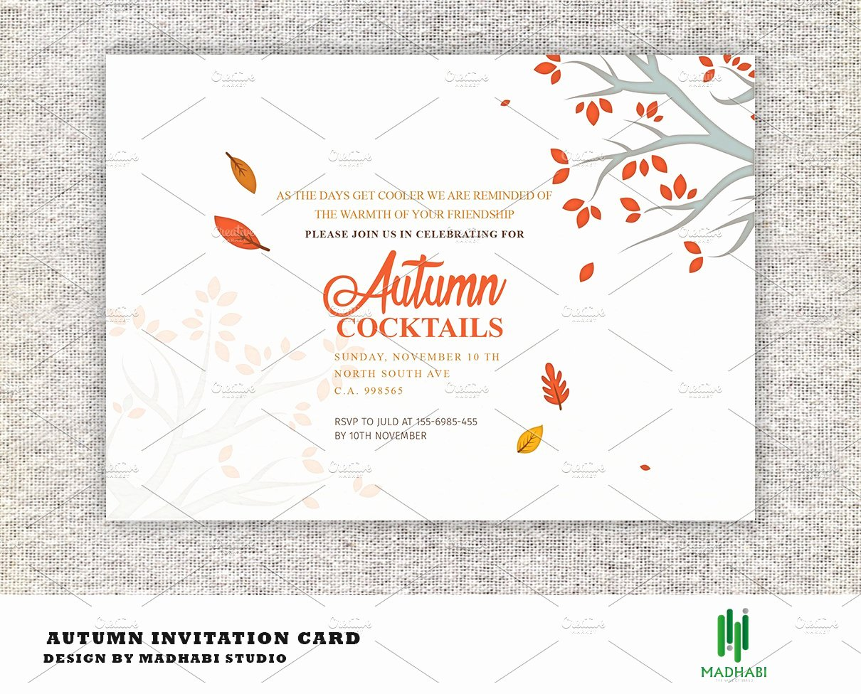 Fall Party Invitation Template Beautiful Autumn Cocktails Party Invitation Invitation Templates